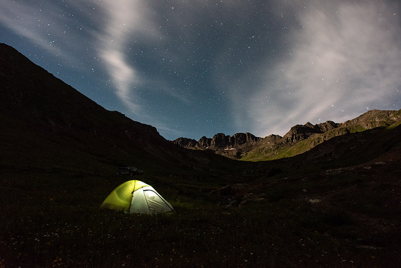 Soaking monsoonal rains yielded to clearer skies beginning on the night we made this camp in American Basin, allowing us an opportunity...