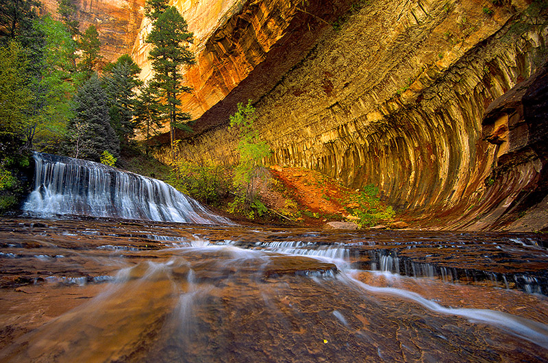 Hiking up the Left Fork of North Creek on the way to the famed Subway brings you first to Archangel Cascades, a series of cascades...