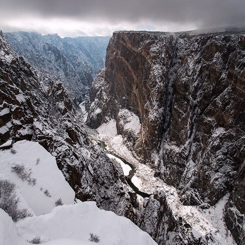 On the heels of a rare good snow in February 2015, I skied the South Rim Road of Black Canyon to the viewpoints for the Painted...