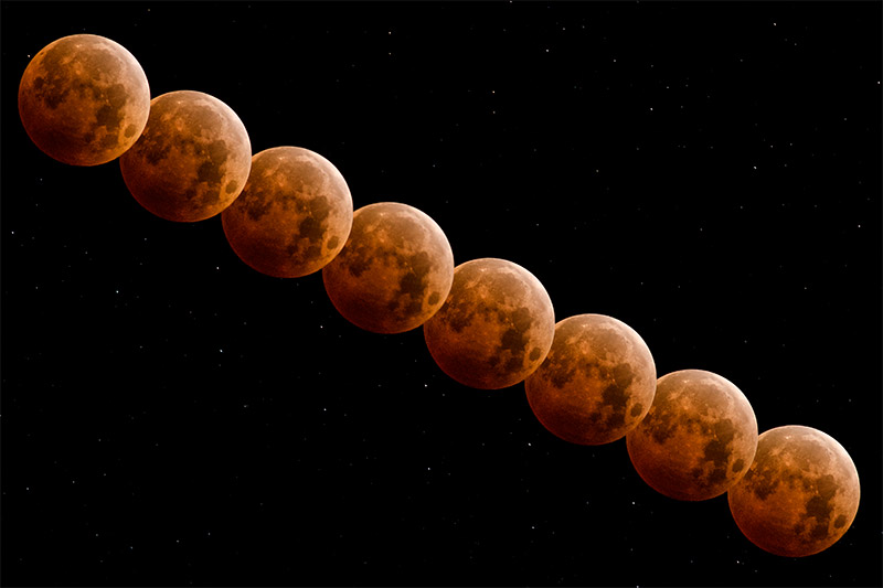 I made this composite during the darkest part of the October 2014 lunar eclipse. The eight exposures were made two minutes...