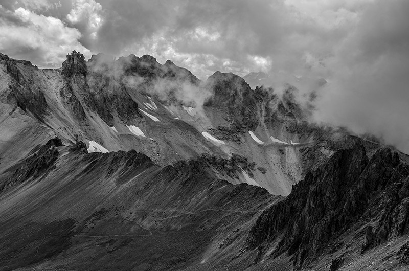 I was on the way up Mount Sneffels (14,150') one stormy August afternoon when I looked back to see these clouds rolling over...