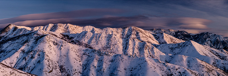 The last light of a winter's day near the Natural History Museum of Utah gives some depth to this panorama of some of the Wasatch...