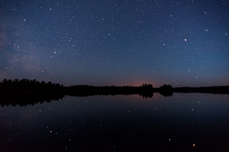 At the great northern latitudes of the Boundary Waters, it takes much longer after sunset for the sky to get dark enough to photograph...