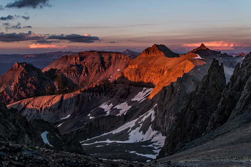The sun sets on a calm mid-July day high in the San Juans. A favorable weather forecast and a lack of building clouds above...