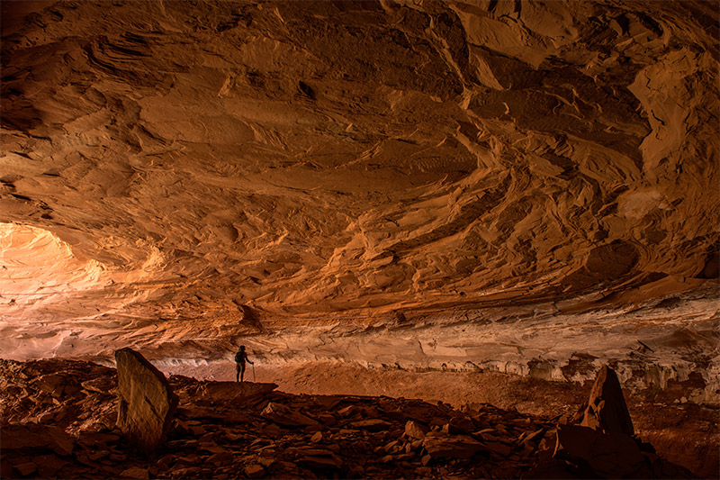 This alcove in Mee Canyon is said to be ~300 feet deep, making it one of the largest alcoves on the Colorado Plateau. During...