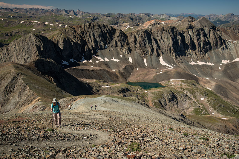 Handies Peak (14,048') is one of Colorado's less forbidding 14ers; no technical experience or even scrambling is required to...