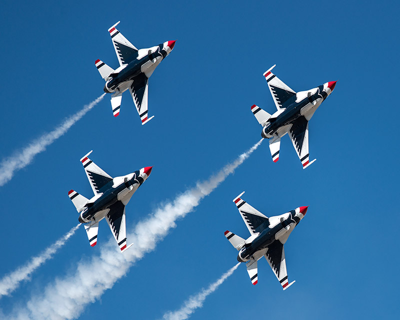 The U.S.A.F. Thunderbirds make a pass in their diamond formation during theWest Star Aviation Airshow in Grand Junction...
