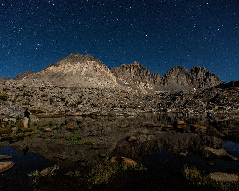 A bright moon gives great light to the west face of the Palisades in this self-portrait.