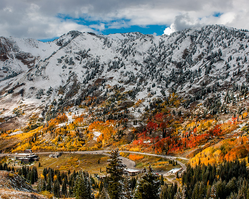 Alta, Little Cottonwood Canyon, Wasatch-Cache, snow, fall colors, autumn