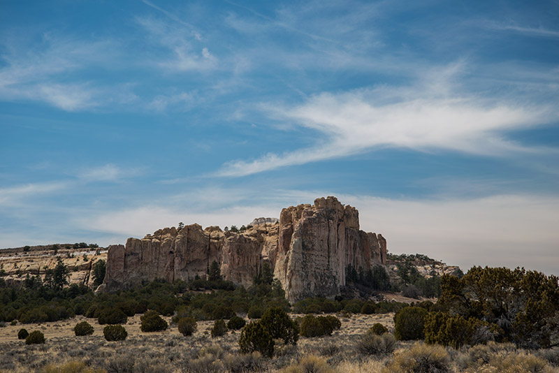Most of El Morro itself is Zuni sandstone, a compaction of sand grains of the same size as those found in dunes. It is...