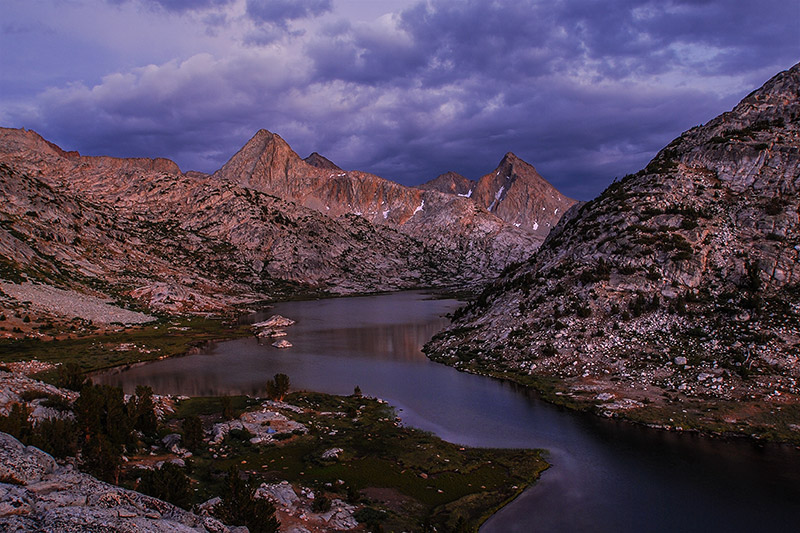On my first visit to Evolution Basin, my friend Greg and I were fortuntate enough to catch two magnificent sunsets while camped...