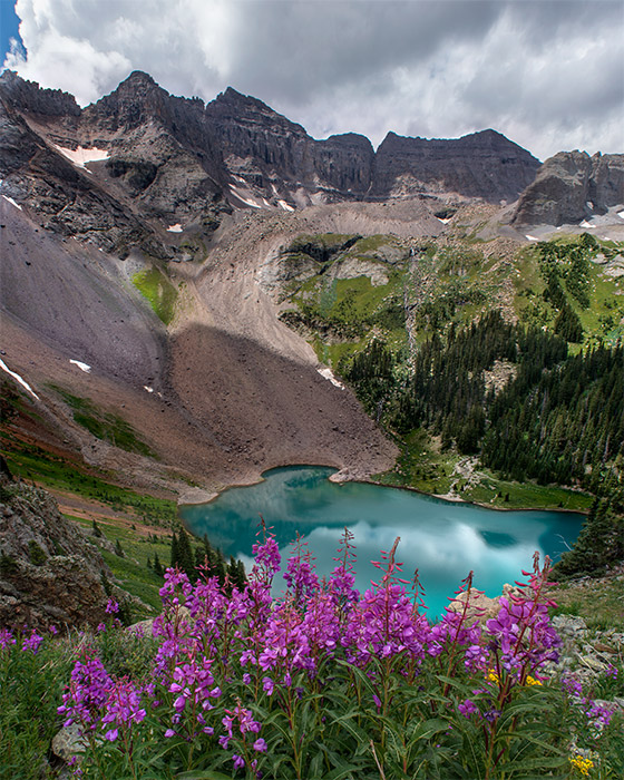 Lower Blue Lake, especially from a high vantage point, has the most brilliant color of the three lakes on the Blue Lakes Trail...