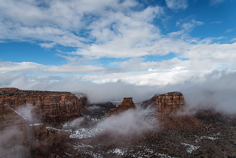 Fog rolled in, out, and back in during much of the afternoon on this unusually warm February day, making this scene from Grand...