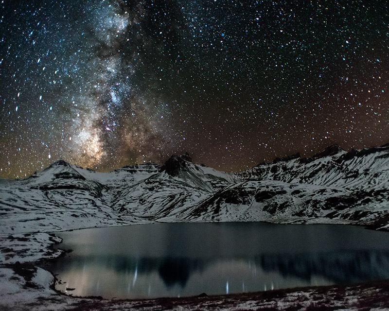 The first snow of the season gives added contrast to the thirteeners surrounding Upper Ice Lake on a crystal clear night.