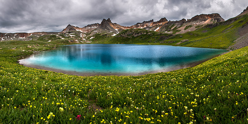 I combined nine vertical frames to make this wide view of Ice Lake, one of Colorado's truly great landscapes.