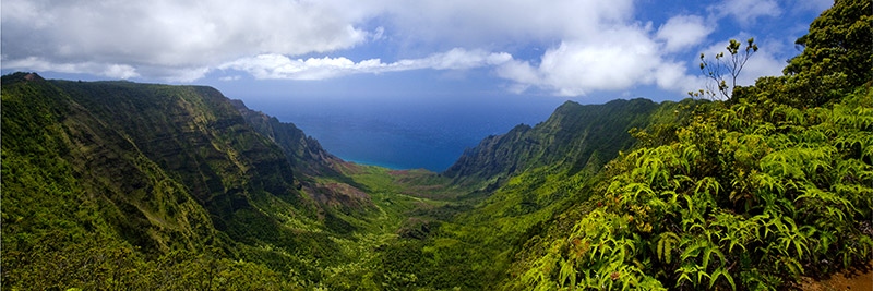 A four-image panoramic view high above the Kalalau Valley.