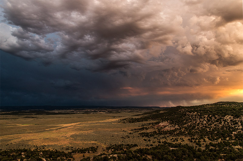 This storm rolled over the McInnis Canyons right at sunset during the beginning of the monsoon season.