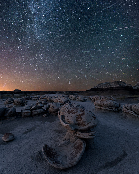 I made this composite from 25 frames taken during a 129-minute period at the height of the Perseid meteor shower. Since...