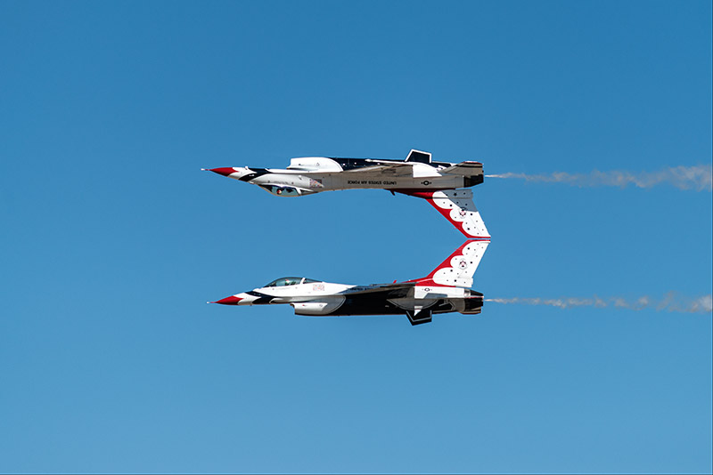 The U.S.A.F. Thunderbirds perform the calypso pass near the end of theWest Star Aviation Airshow in Grand Junction, October...