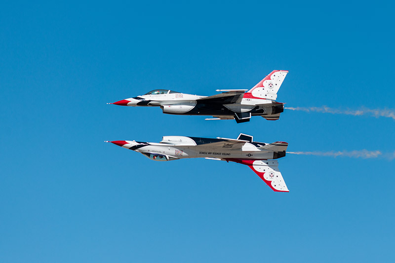 The U.S.A.F. Thunderbirds perform the reflection pass during theWest Star Aviation Airshow in Grand Junction, October 2015...