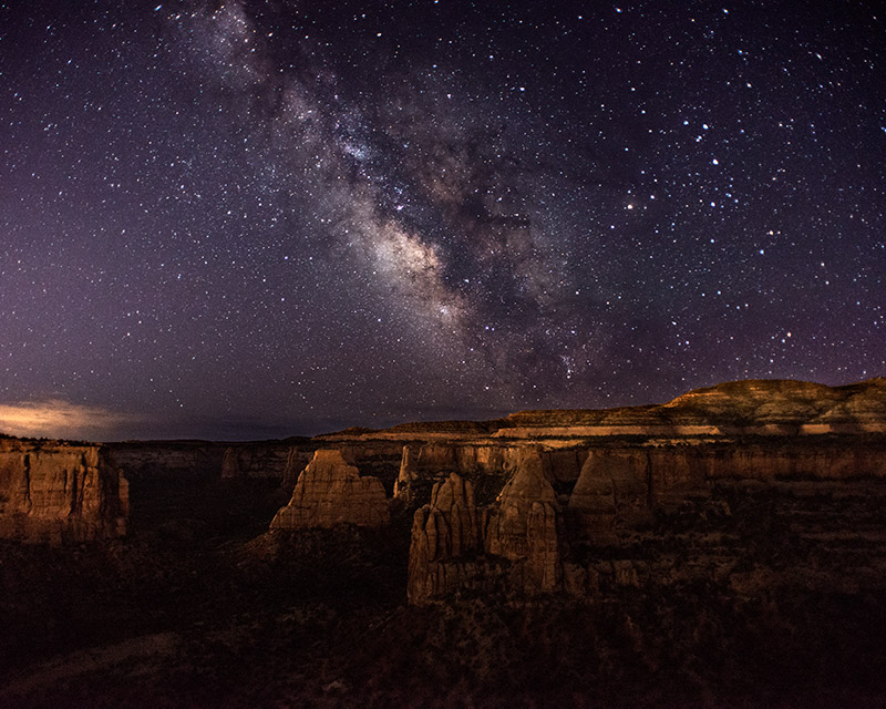 The Milky Way shines over Monument Canyon several hours before moonrise.