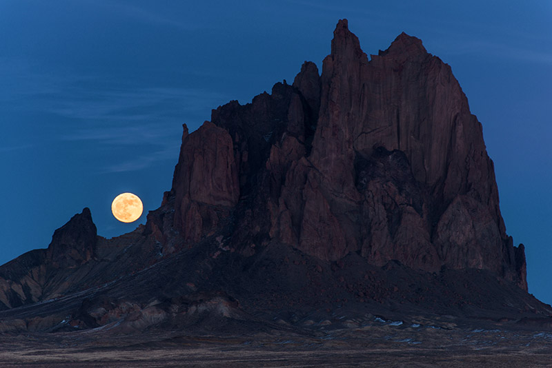 Tsé Bit'a'í is the Navajo name for Shiprock, a plug of volcanic rock that juts almost 1600' above the northwestern...