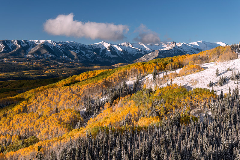 West Elk Mountains from Ohio Pass on a clear morning after an overnight snow in early October.