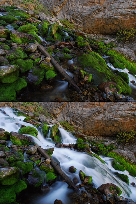 It's easy to see that this composite of two images shows a spring under conditions of low flow and high flow, but it's more interesting...