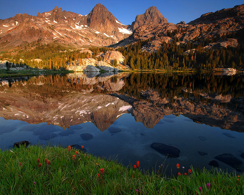 Mount Ritter (center left) and Banner Peak (center right) dominate the view from the shore of Ediza Lake. On this visit...