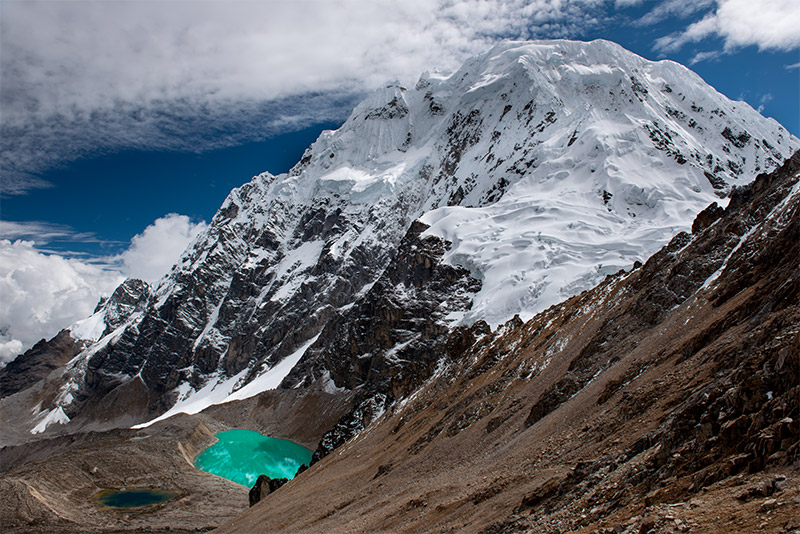 One of the spectacular views from Inka Chiriaska (Condor) Pass, 5150 m. Covered with thick glaciers, Nevado Salkantay (20,574...