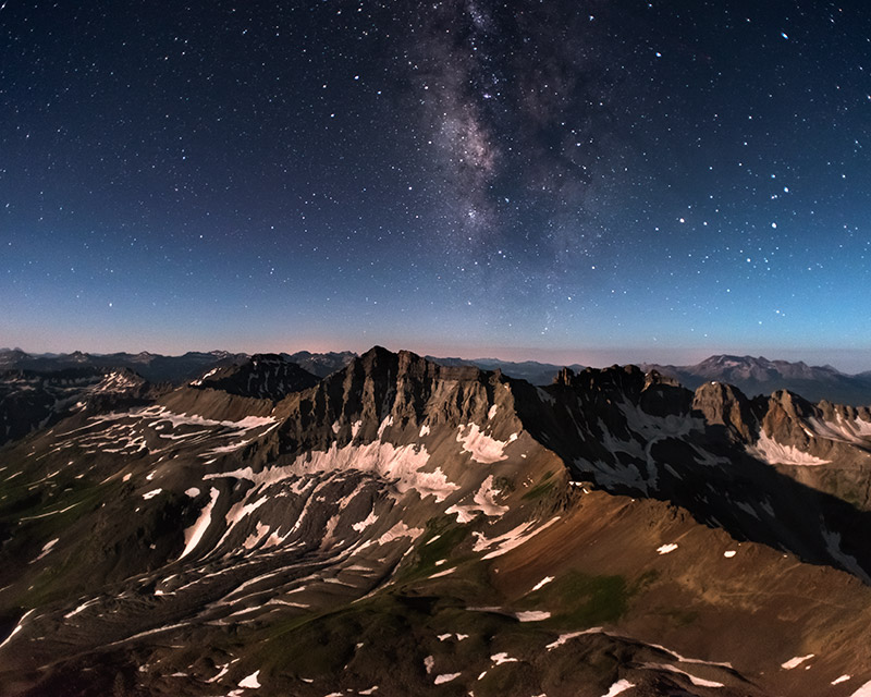 Gilpin Peak (13,694') and the upper reaches of Yankee Boy Basin are bathed in moonlight with a touch of starlight in this image...