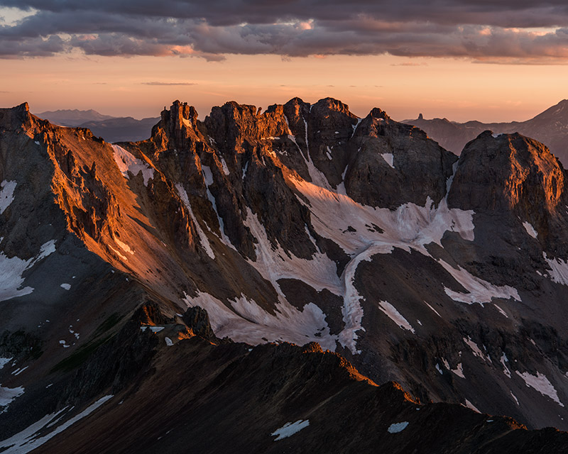 This view from Lavender Col, between Mount Sneffels and Kismet Peak, looks across the north-south, foreground ridge that includes...