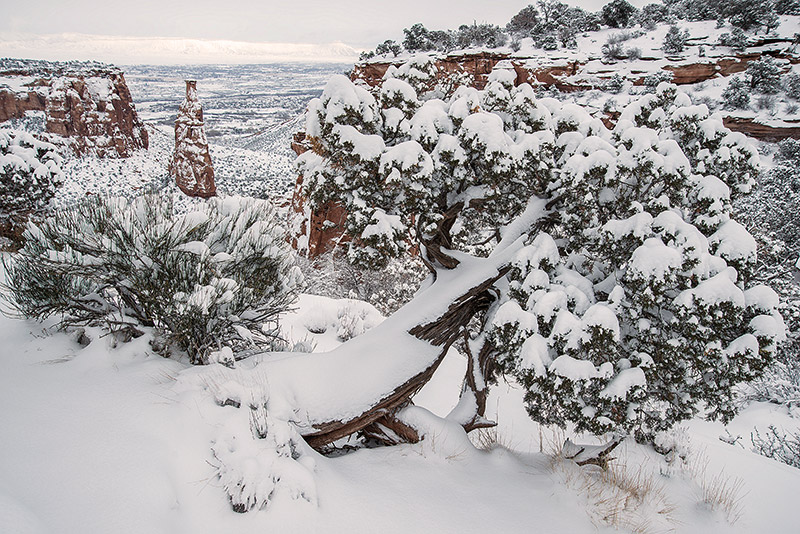 Colorado National Monument, Independence Monument, snow