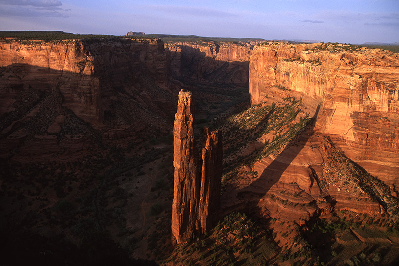 Spider Rock, an 800' monolith, is said to have been the home of Spider Woman, who taught the ancestral Navajos how to weave. &...
