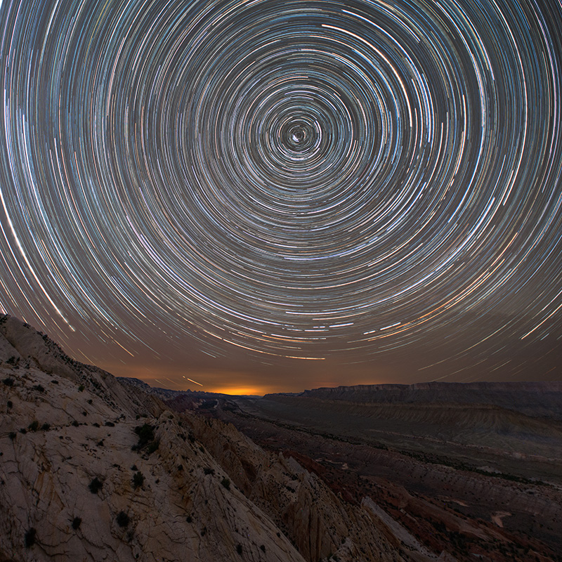 These star trails were recorded over five hours overlooking Strike Valley. A frigid wind in late March made for a long...