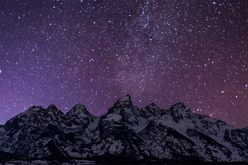 The view of these five prominent peaks of the Teton Range is one of my favorites any where. Throw in some brilliant stars...
