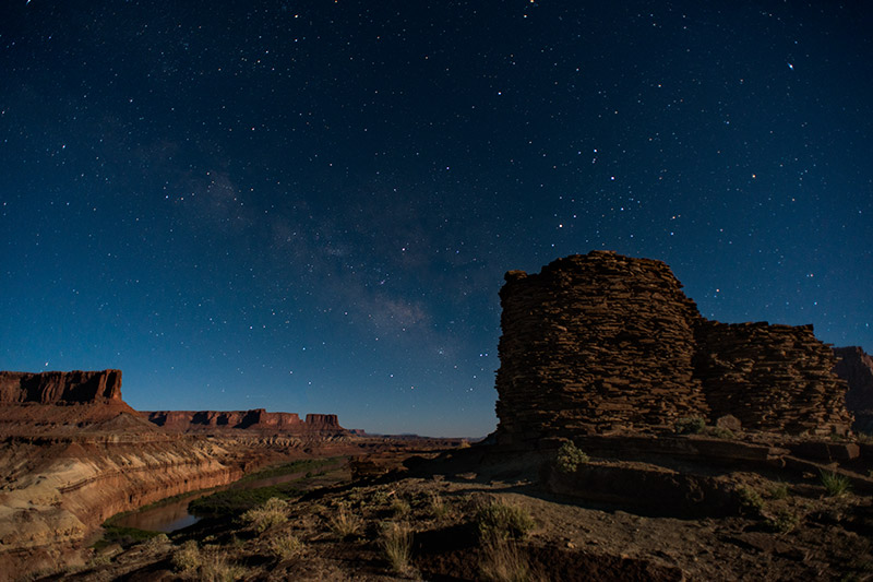 This two-story tower is perched atop a hill with a stunning view of the Green River. The moon was perhaps a bit brighter...
